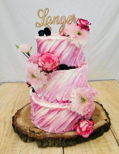 Hochzeitstorten Da Rino Bottrop pink mit Blumen Rosen