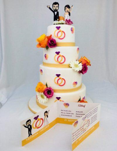 Hochzeitstorten Da Rino Bottrop vier stöckig weiss mit Ringen
