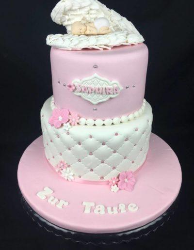 Torten Da Rino Bottrop zur Taufe zwei stöckig rosa Mädchen