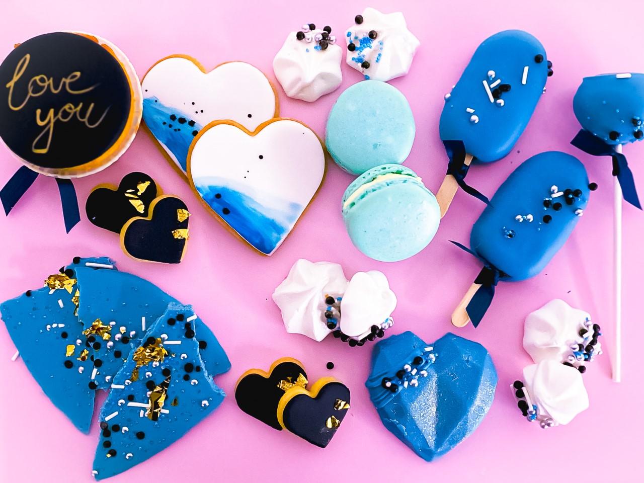Valentinstag Geschenk Sweets blau