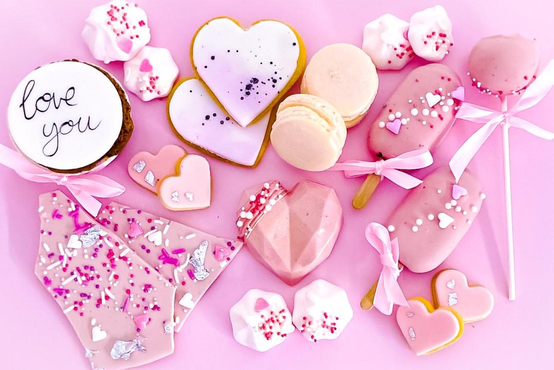 Valentinstag Geschenk Sweets rosa