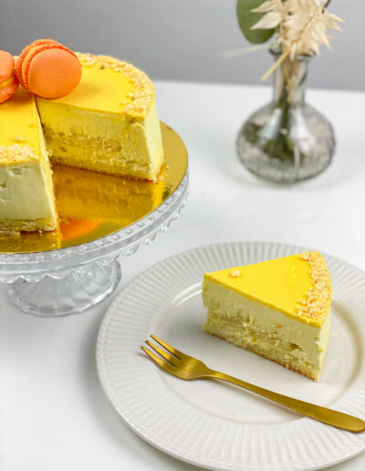 Kuchen Mango Buttermilch angeschnitten