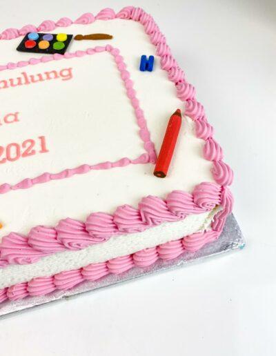 Einschulungstorte Tafel eckig rosa für Mädchen